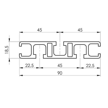18.5x90 Aluminium T-slot extrude profile