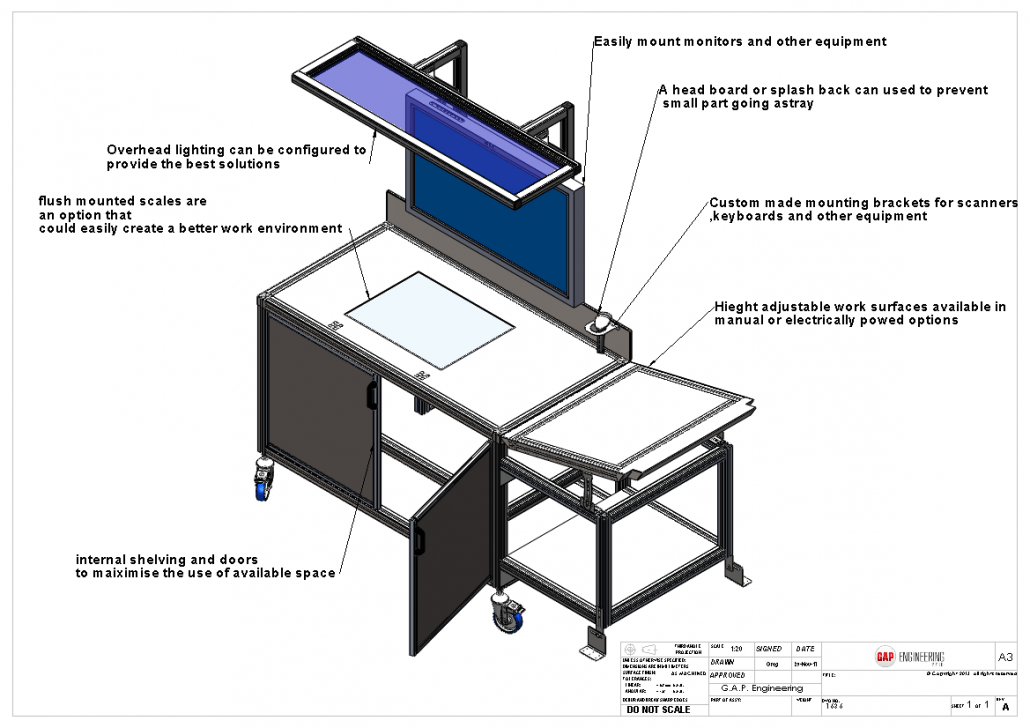 Industrial aluminium work station