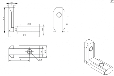 Internal corner bracket T Slot Aluminium Profile accessories