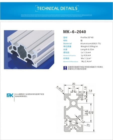 2040 T Slot Aluminium Extruded profile