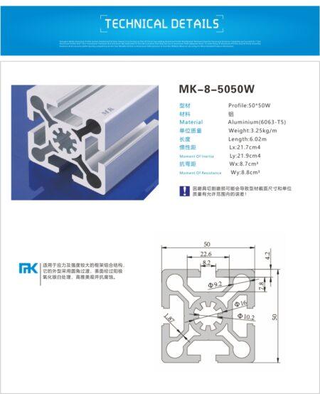 T-slot aluminiumprofile extrusion 5050