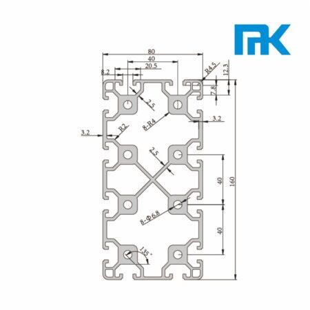 T-Slot aluminium profile 80x160