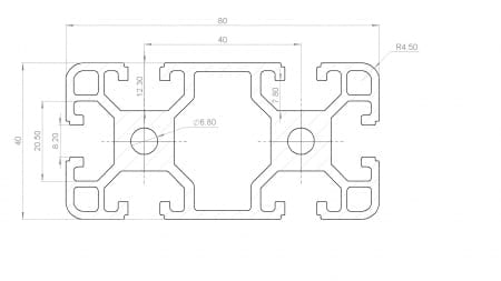 40x80 T Slot Aluminium Extrusion