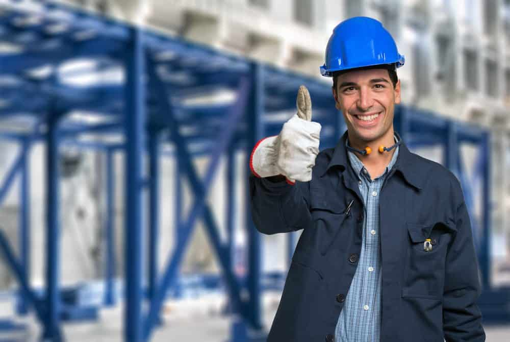 Happy engineer with thumbs up